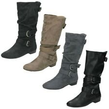 Ladies Spot On Low Heel Rouched Buckle Strap Calf Boot