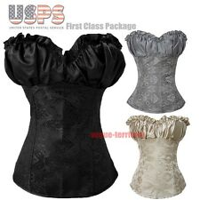 Sexy Ladies Renaissance Boned Lace Up corset Top Bustier Zipper Side SIZE S-6XL