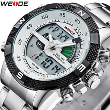Weide Mens Sport  LCD Analog Digital Alarm Backlight Date Day Quartz Wrist Watch