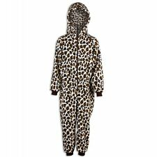 Camille Childrens Unisex Brown Cream Snow Leopard Print All In One Pajama Onesie