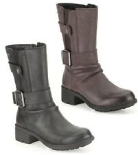 LADIES CLARKS BLACK, GREY LEATHER MID CALF ZIP UP BIKER BOOTS MANSI TESS GTX