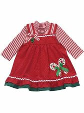 RARE EDITIONS Baby Girl Candy Cane Christmas Holiday Dress Set Outfit 12 18 24M