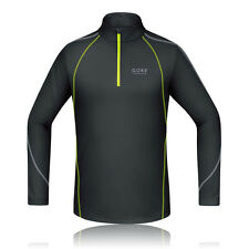 Gore Essential Mens Yellow Microfibre Half Zip Long Sleeve Running Sports Top