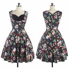 Women Vintage Style Floral Printed 50'S 60'S  Swing Pinup Sleeveless Prom Dress