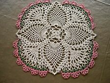 Thread Crocheted Doily Tablecloth Centerpiece 12.5 in. Ecru Candle Mat Topper