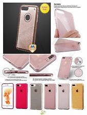 Apple iPhone 7 Plus 7 Bling Glitter Hybrid TPU Gummy Silicone Clear Case Cover