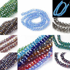 10 Strands Glass Beads Strands AB Color Plated Crystal Suncatcher Faceted Abacus