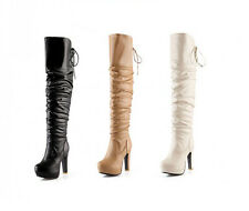 Fashion Womens Fur Lined Over Knee High Boots Platform Slouch Thigh Knight Boots