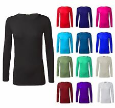 New Basic Womens Plain Stretchy Scoop Neck Long Sleeve Autumn T Shirt Top  8-26