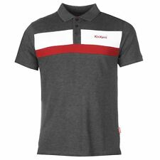 MENS BRANDED KICKERS CHARCOAL POLO SHIRT WITH CONTRASTING STRIPE AND MOTIF