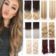 100% Natural,Clip In Hair Extension,4/3Full Head,Ombre Black Blonde Brown,Remy