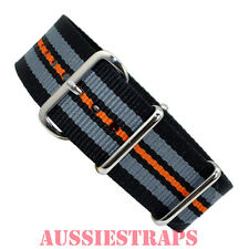 NATO® G10 GREY BLACK ORANGE BOND Military Diver's Watch Strap Band Nylon