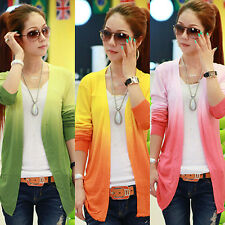 Women's Casual Gradient Color Long Sleeve Sweater Knitwear Cardigan Stunning