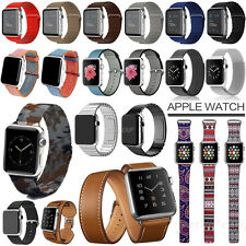 Genuine Leather Loop Milanese Magnetic Silicone Strap Band For Apple Watch 2 & 1