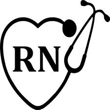 RN Nurse Stethescope Heart - Vinyl Car Window and Laptop Decal Sticker