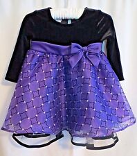BONNIE BABY Girl Black Purple Organza Bow Special Occasion Holiday Dress 12 24 M