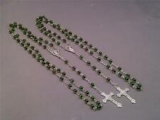 Rosary Necklace - GREEN Two Tone Beads Detailed Silver Tone Crucifix Chain