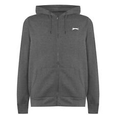 MENS CHARCOAL GREY SLAZENGER ZIP UP HOODED HOODIE HOODY SWEATSHIRT JUMPER TOP