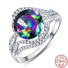 lingmei Rainbow & White Topaz 100% Solid 925 Sterling Silver Rings Size 6 7 8 9