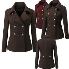 Womens Ladies Woolen Suit Collar Double Breasted Long Sleeve Hip Long Coat