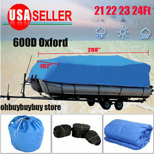 """20-24Ft 600D Heavy Duty Fabric Waterproof Trailable Boat Cover V-Hull 102"""" Beam"""