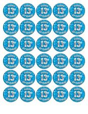 30 x4cm HAPPY 13th BIRTHDAY (boy) EDIBLE WAFER/FONDANT PAPER CUP CAKE TOPPERS