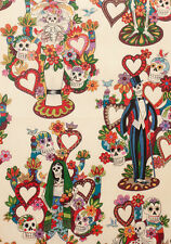 Alexander Henry Tree of Life Vintage fabric FQ/Per Metre Mexican Skeleton Fiesta