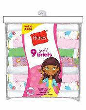 Hanes Girls' No Ride Up Cotton Colored Briefs 9-Pack #P913BR  100% cotton