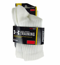 Under Armour HeatGear Training Crew Socks 4-Pack White and Gray NWT