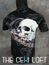 NEW MENS KONFLIC GRAPHIC T-SHIRT Skull Rose Black w/ Red Foil Highlights UFC MMA