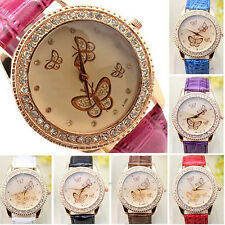 Women Fashion Faux Leather Rhinestones Butterfly Face Quartz Dress Watch Welcome