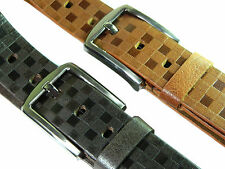 Men's leather belt genuine full grain wide casual formal Brown Tan strap buckle
