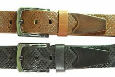 Men's leather belt genuine full grain wide casual formal Brown Tan Snake strap