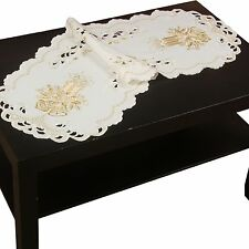 Christmas Tablerunner Topper Doily Tablecloth Gold Candle Embroidery Linen Look