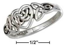 Sterling Silver Celtic Ring With Trinity and Heart Knots - Ring Size: 05 to 10