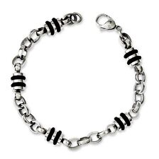 Stainless Steel Rubber Accent Barrel Link Bracelet - 8 Inch