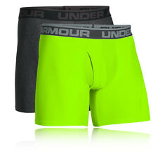 "Under Armour O Series 6"" Mens Grey Green Underwear Boxer Shorts 2 Pack"