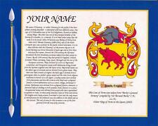 """IRISH HERITAGE COAT OF ARMS & SURNAME HISTORY PRINT 10"""" x 8"""" & A4 FREE GIFT"""