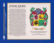 """ENGLISH HERITAGE COAT OF ARMS & SURNAME HISTORY PRINT 10"""" x 8"""" & A4 FREE GIFT"""
