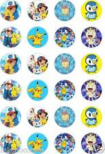 24 x PRECUT POKEMON/PIPLUP/MEOWTH/GO/PIKACHU RICE/WAFER PAPER CUP CAKE TOPPERS