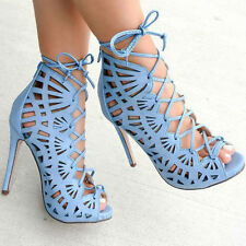 Blue / Blush Perforated Cut Out Lace Up Peep Toe Bootie Heels, US 6-11