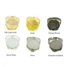 10pcs Vintage Adjustable Finger Ring Pad Base Blank Alloy Cabochon Bezel Setting