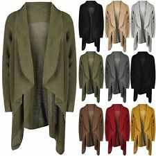 Ladies Baggy Waterfall Ribbed Knit Womens Chunky Knit Open Front Midi Cardigan