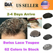GEX Toupee Mens Hairpiece Swiss Lace Basement Wig Black With Gray Human Hair