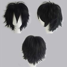 Short Black Cosplay Wig Anime Party Full Hair Wigs Synthetic Heat Resistant