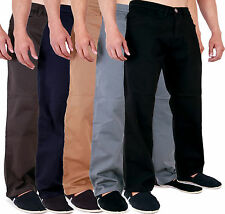 New Mens Aztec Stretch Chinos Straight Regular Fit Classic Basic Pants 28-48