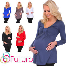 Ladies Maternity Bubble Top V Neck Long Sleeve Wrap Tunic Blouse Sizes 8-18 8549