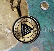 Bronze Valknut Pendant Viking Rune Necklace Norse Warriors Odin Symbol Asatru