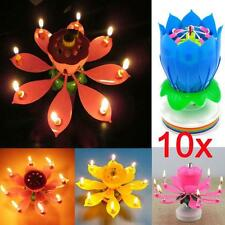 10x Happy Birthday Magical Flowers Blossom Lotus Musical Candle Romantic Party