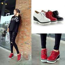 New Women Lady Casual Platform Wedge Heels Fashion Lace up Leather Shoes